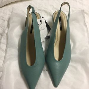 Zara slingback teal kitten heels SZ 36
